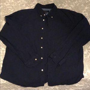American eagle black/blue button down shirt